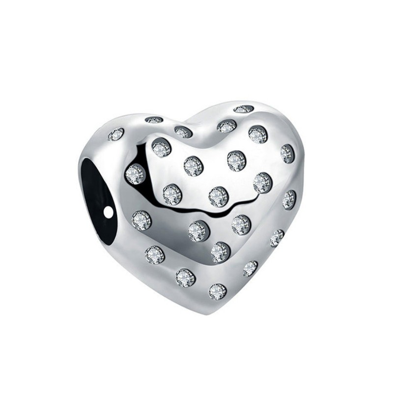 Lovely Heart Charm Sterling Silver