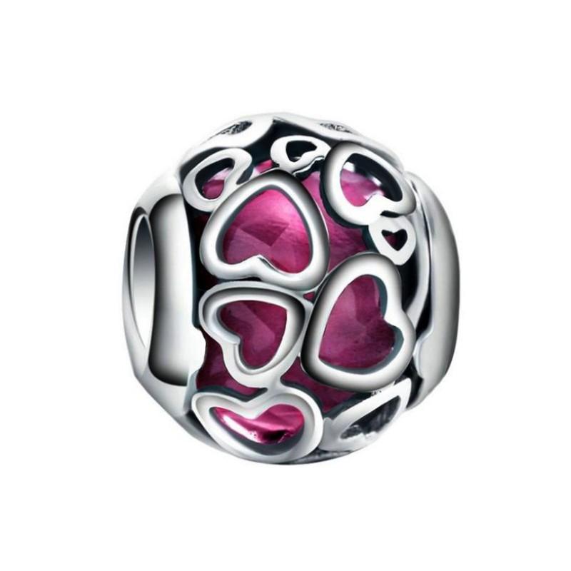 Fuchsia Hearts Charm Sterling Silver