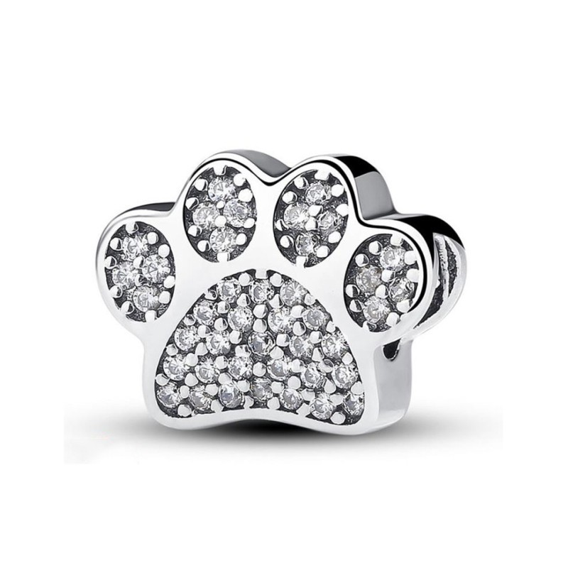 Cute Paw Charm Heart Sterling Silver