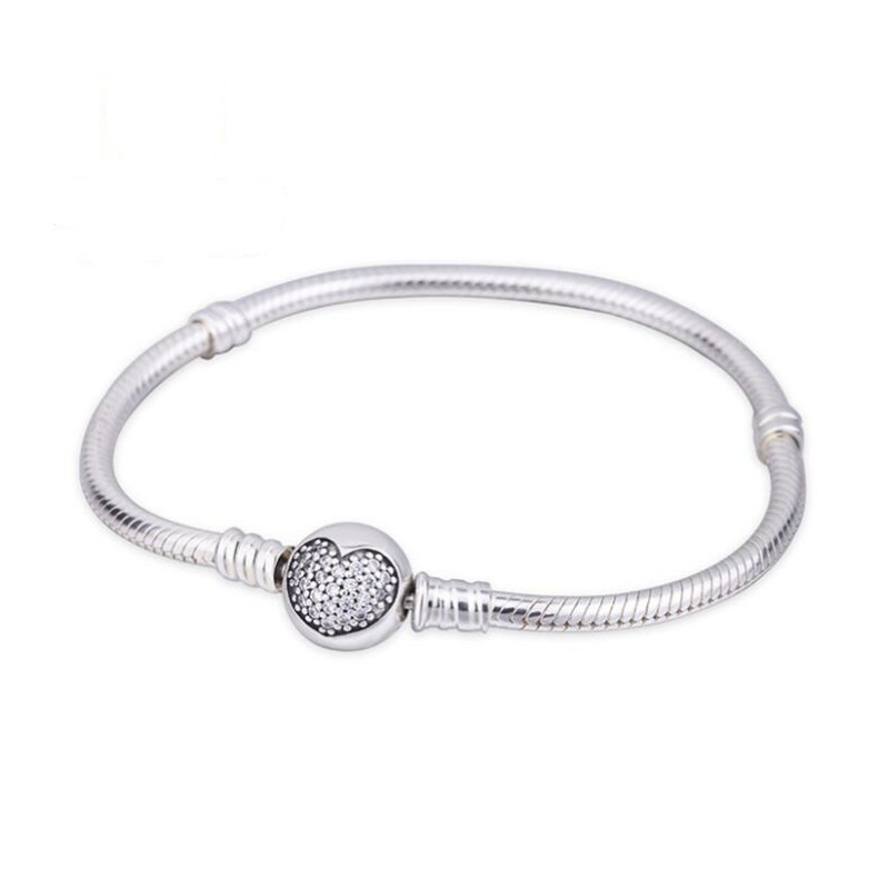 Heart Crystal Round Shape Clasp Bracelet Sterling Silver