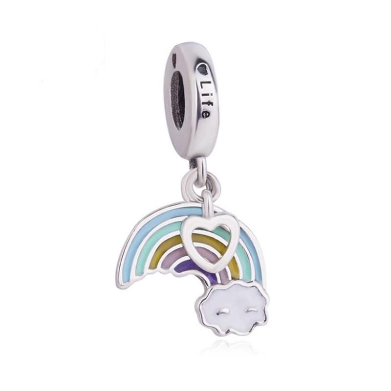Rainbow & Cloud Charm Sterling Silver