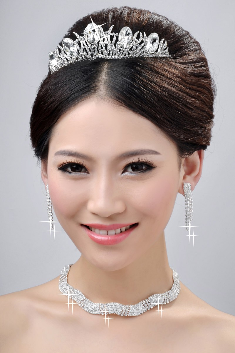 Elegant Wedding Headpieces Necklaces Earrings Set
