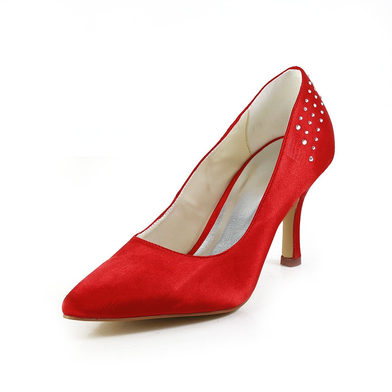 Women's Fascinating Satin Stiletto Heel With Rhinestone Red Wedding Shoes