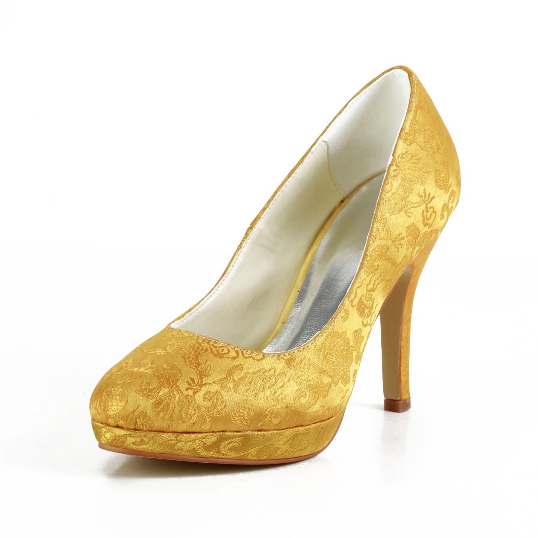 Women's Fashion Satin Stiletto Heel Closed Toe Platform Gold Wedding Shoes