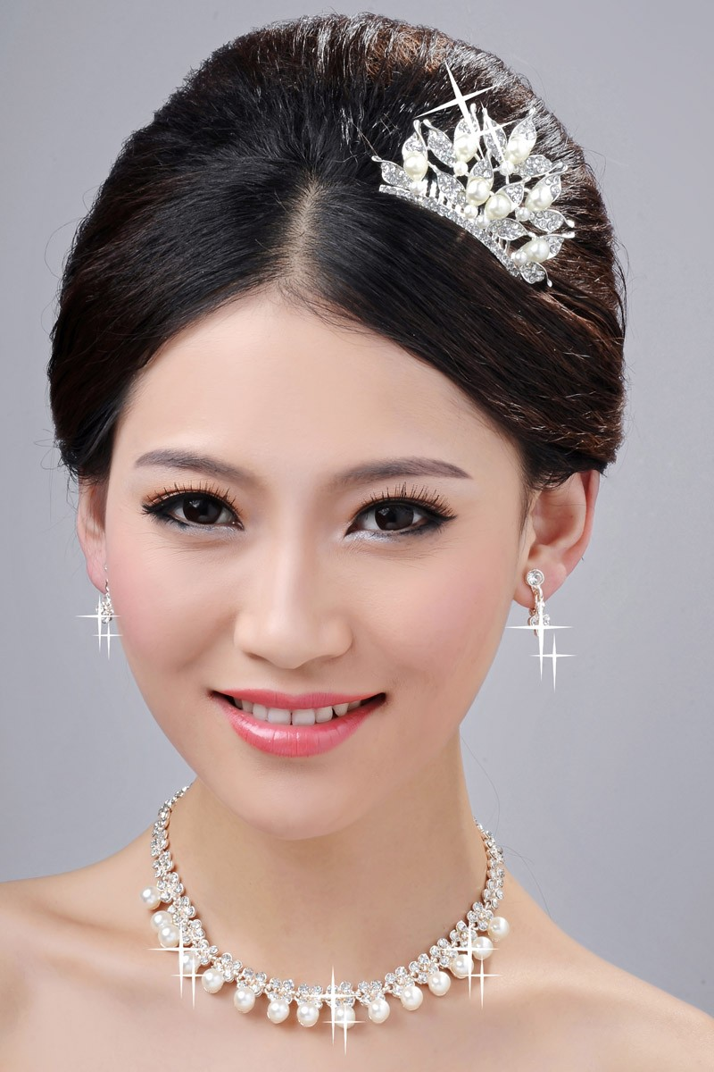 Fashionable Pearls Alloy Clear Crystals Wedding Headpieces Necklaces Earrings Set
