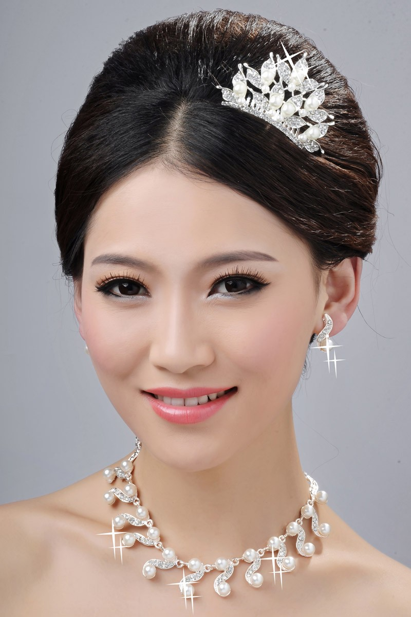 Glamorous Pearls Alloy Clear Crystals Wedding Headpieces Necklaces Earrings Set
