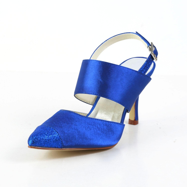 Women's Graceful Satin Stiletto Heel Sandals Closed Toe White Wedding Shoes