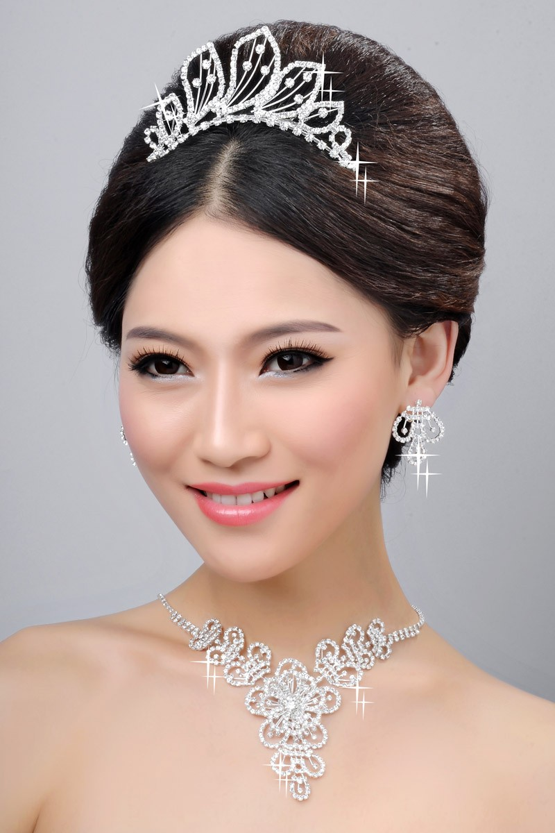 Hot Sale Beautiful Alloy Clear Crystals Wedding Headpieces Necklaces Earrings Set