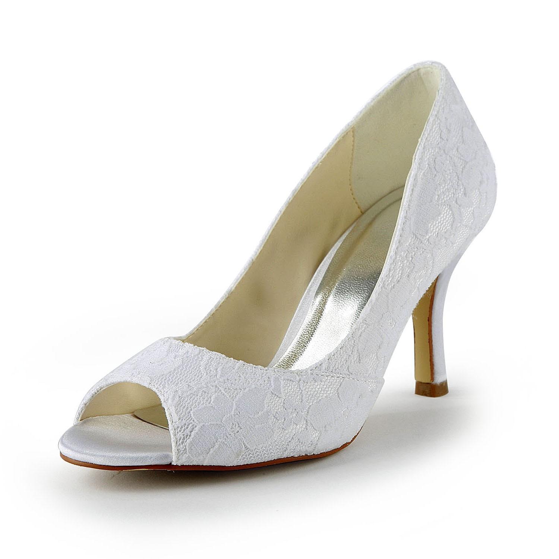 Women's Lace Satin Stiletto Heel Peep Toe Sandals White Wedding Shoes