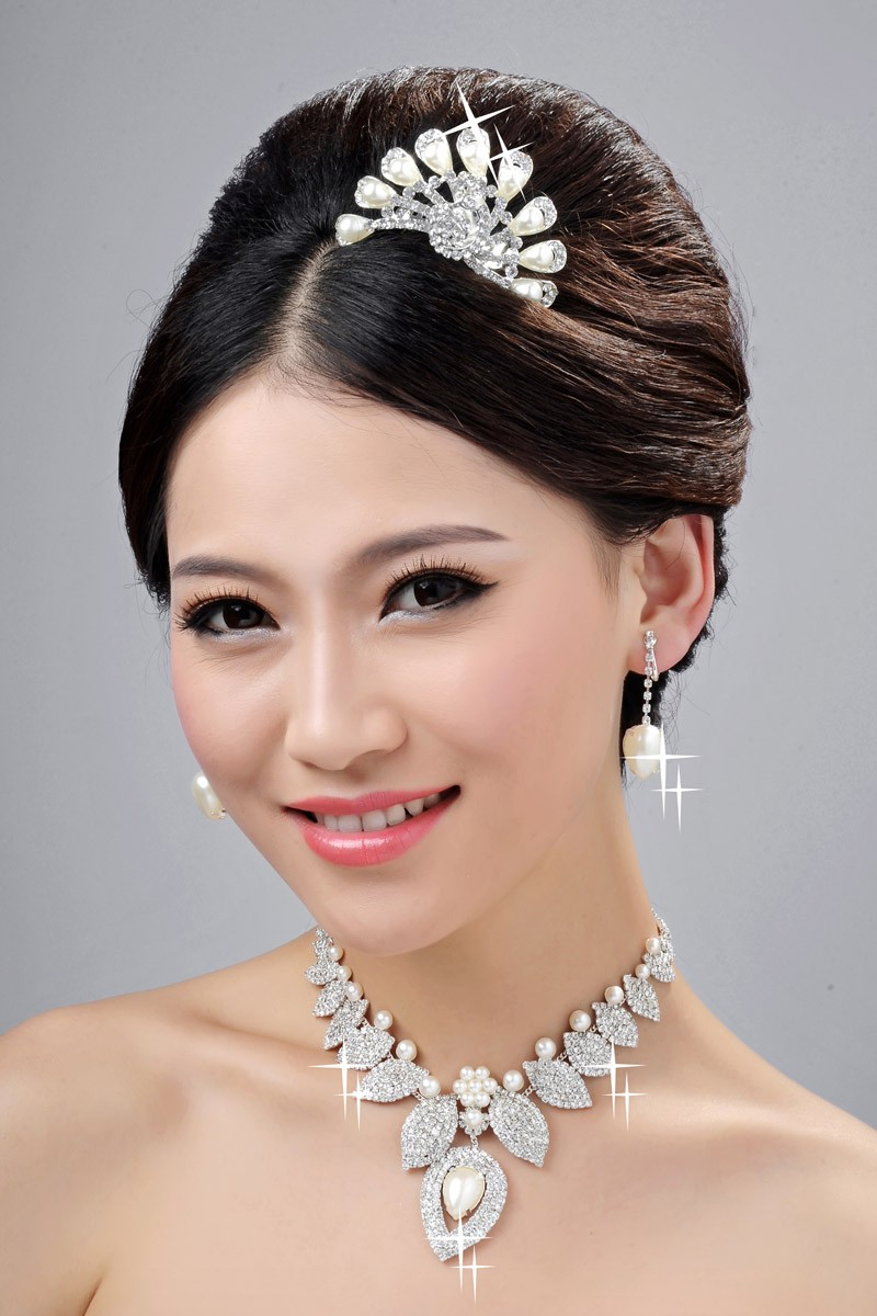 New Style Alloy Clear Crystals Pearl Wedding Headpieces Necklaces Earrings Set