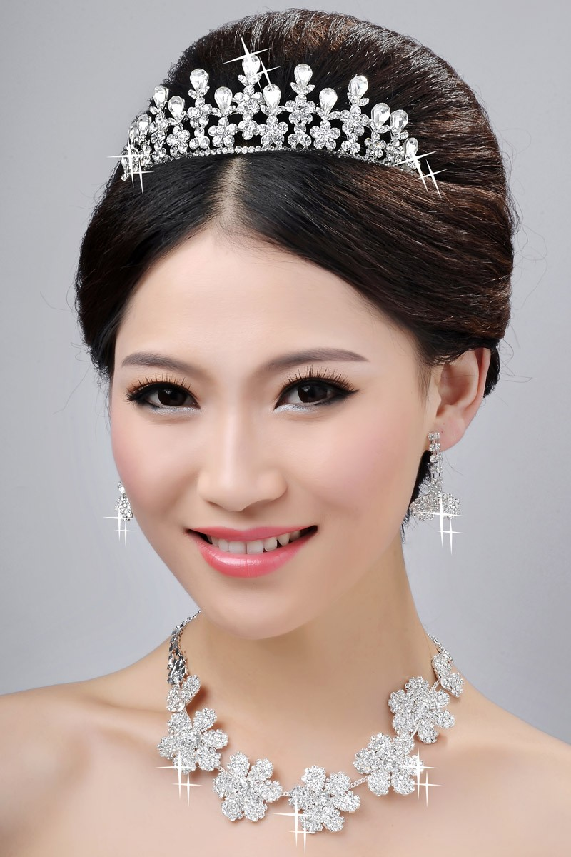 New Style Nice Alloy Clear Crystals Flower Wedding Headpieces Necklaces Earrings Set