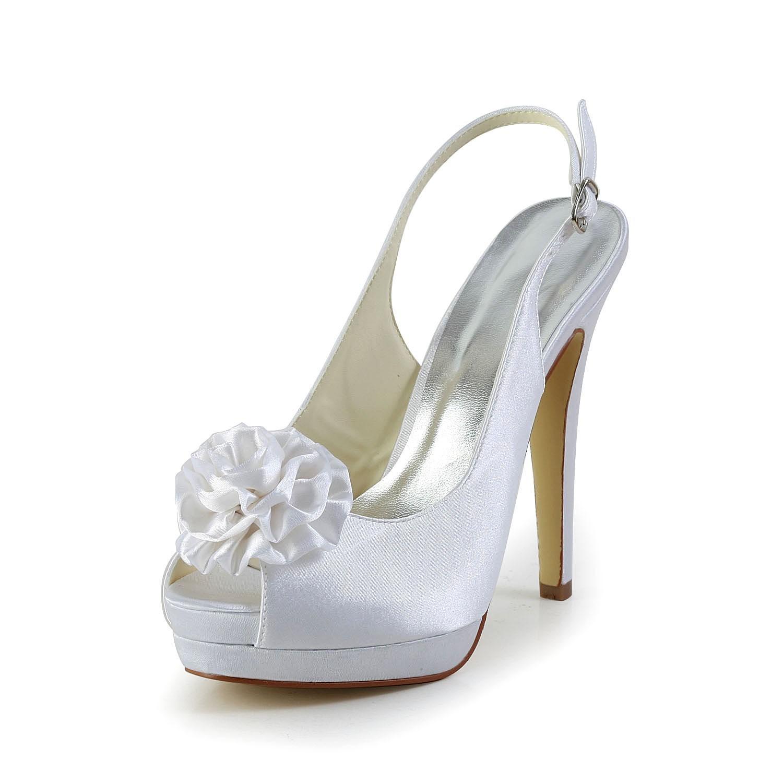 Women's Satin Stiletto Heel Sandals Peep Toe With Flower White Wedding Shoes