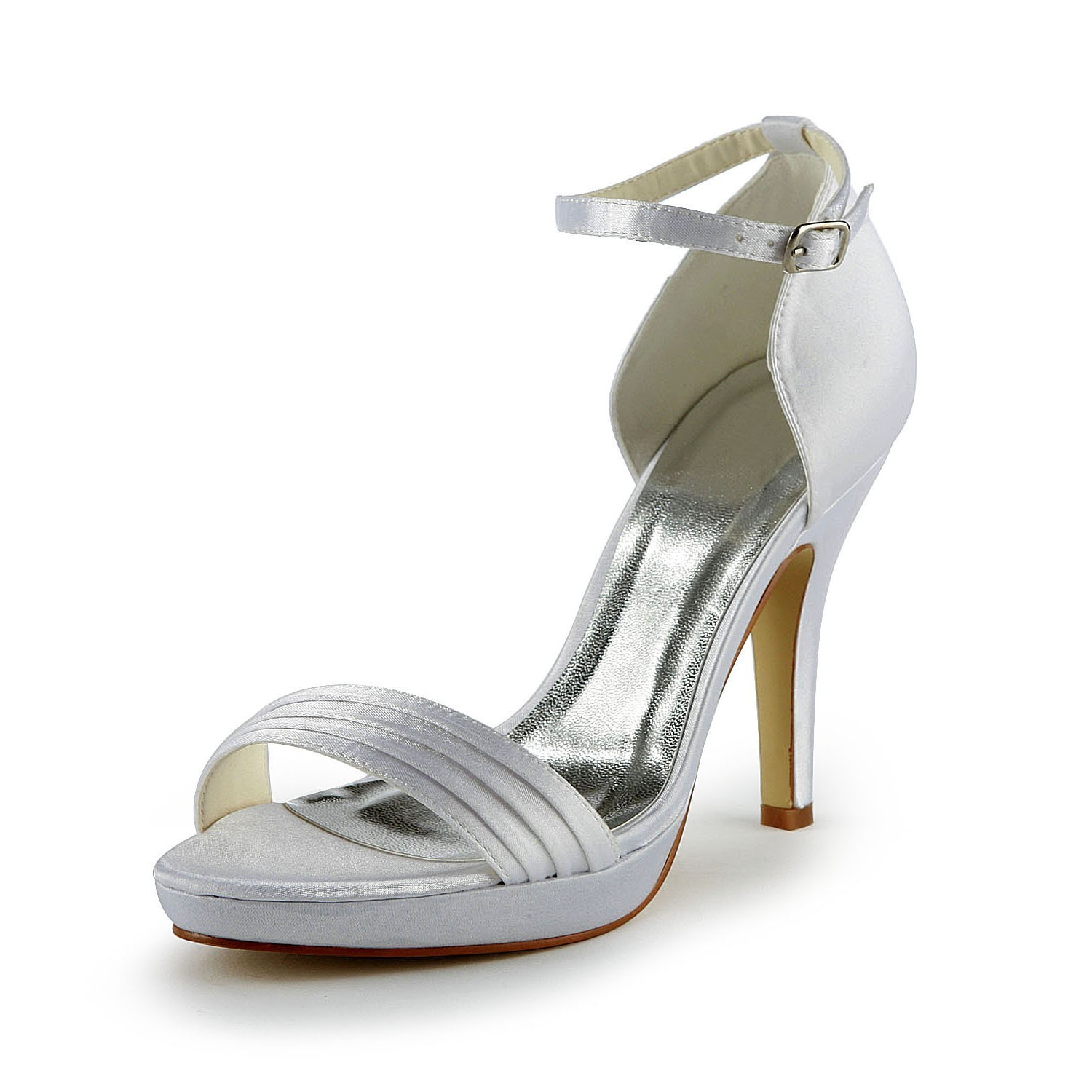 Women's Pretty Satin Stiletto Heel Sandals With Buckle White Wedding Shoes