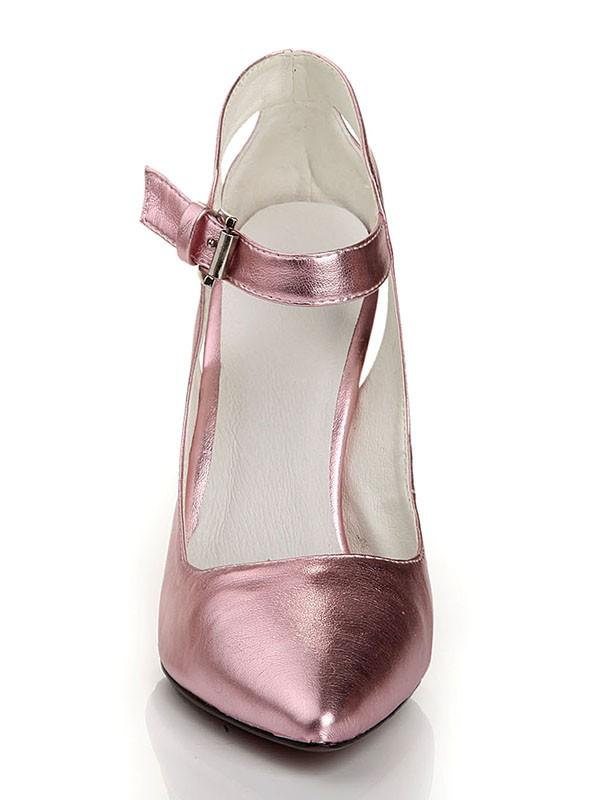 Women's Sheepskin Closed Toe Stiletto Heel With Buckle High Heels