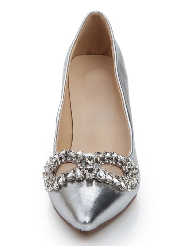 Women's Sheepskin Closed Toe Stiletto Heel With Rhinestone Silver Wedding Shoes