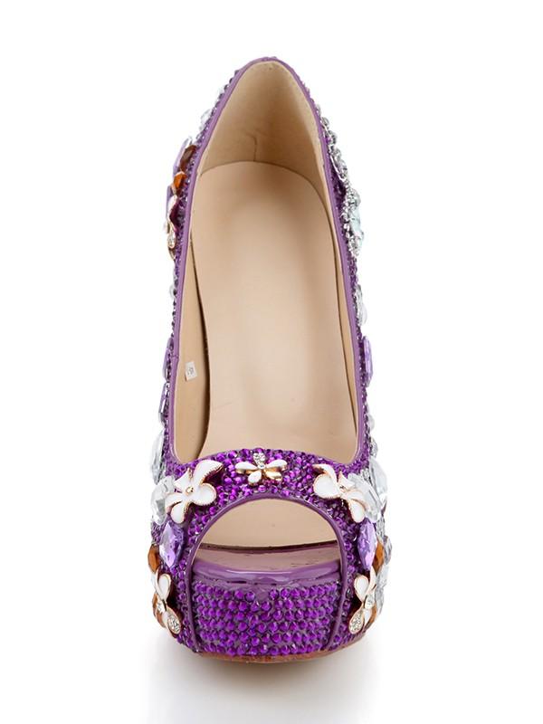 Women's Cone Heel Platform Patent Leather Peep Toe With Rhinestone Platforms Shoes