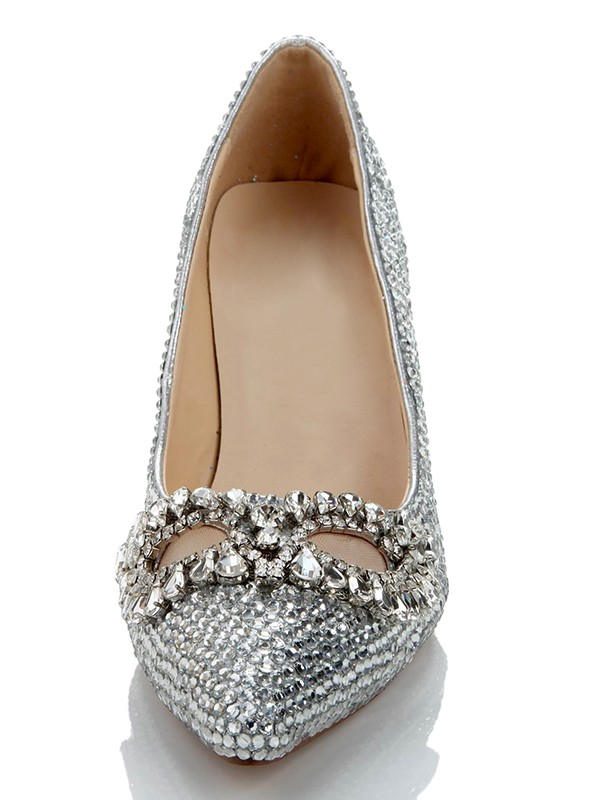 Women's Stiletto Heel Sheepskin Closed Toe With Rhinestone Silver Wedding Shoes