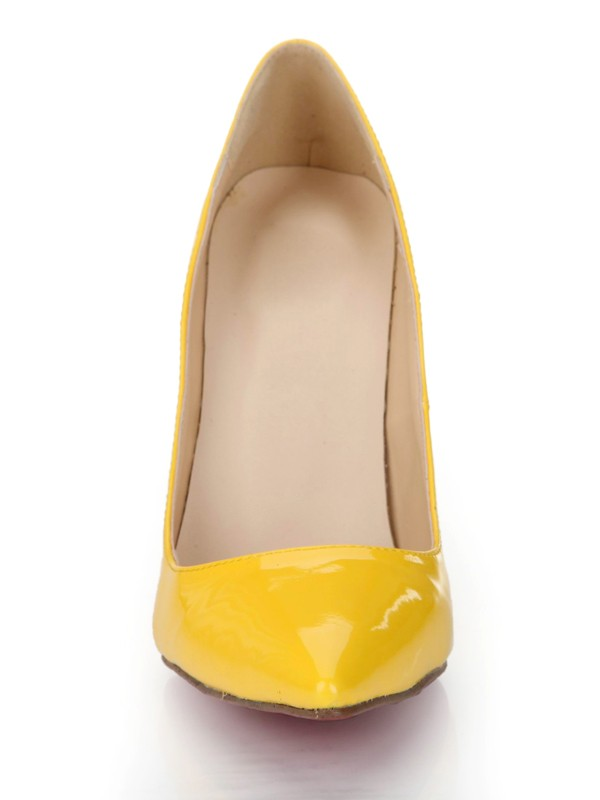 Women's Stiletto Heel Patent Leather Closed Toe High Heels