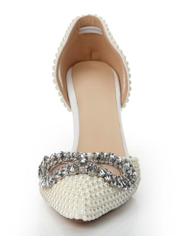 Women's Patent Leather Cone Heel Closed Toe With Rhinestone High Heels