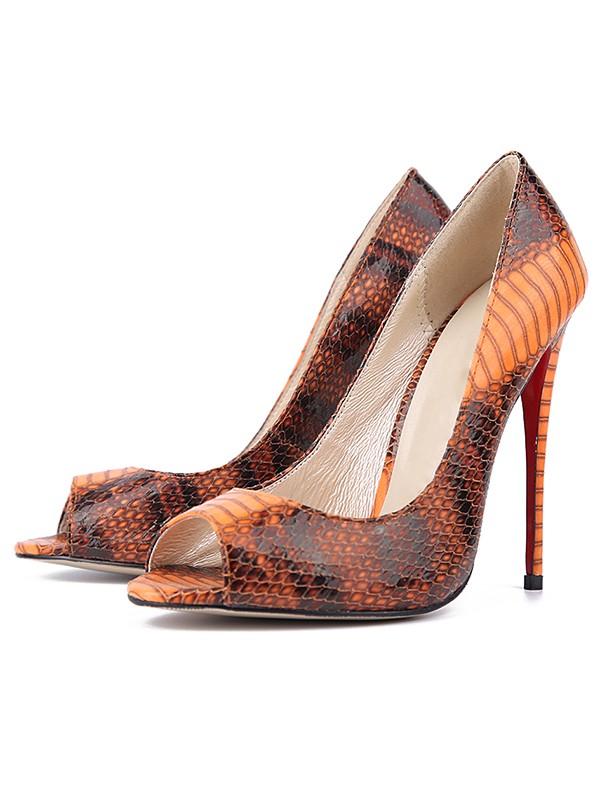 Women's Snake Print PU Peep Toe Stiletto Heel High Heels