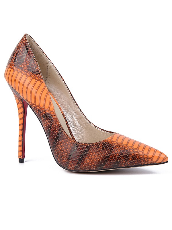 Women's Closed Toe Snake Print PU Stiletto Heel High Heels