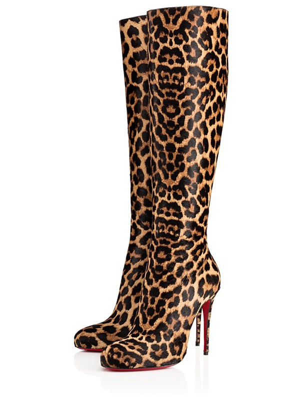 Women's Leopard Print Horsehair Stiletto Heel Knee High Heels