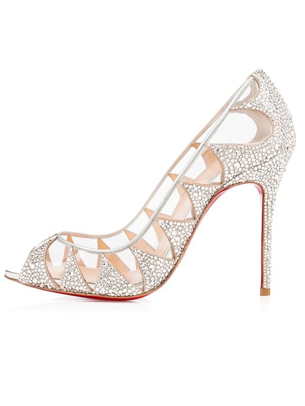 Women's Suede Peep Toe Stiletto Heel with Hot Drilling High Heels