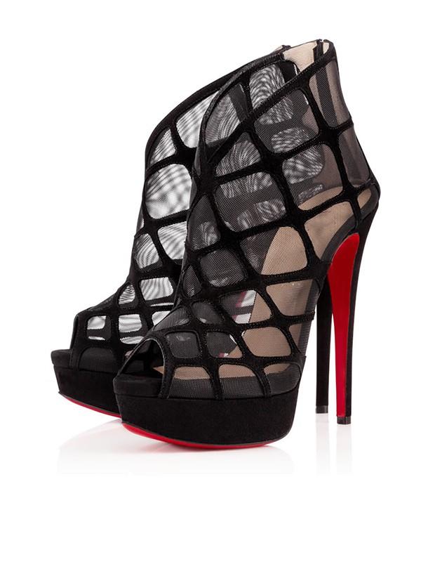 Women's Suede Peep Toe Stiletto Heel Platform Black Sandals Shoes