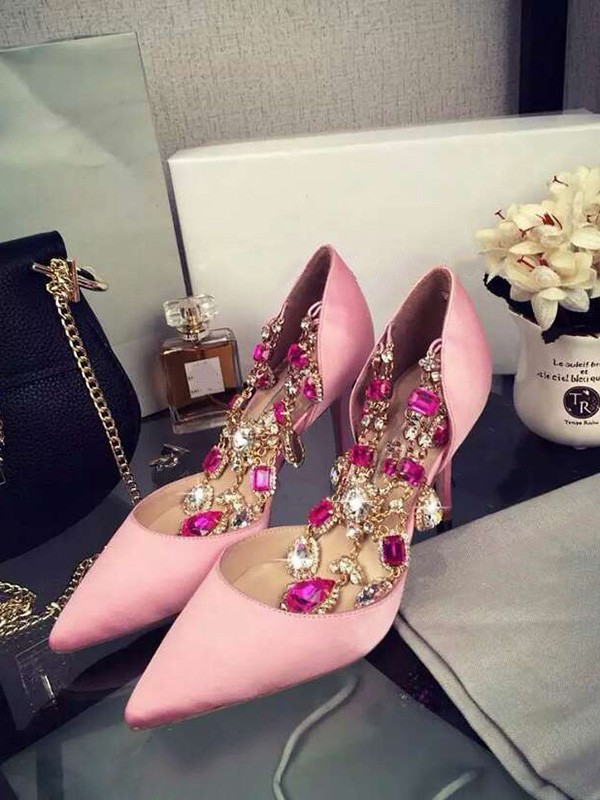 Women's Pink Stiletto Heel Satin Closed Toe With Rhinestone Chain High Heels