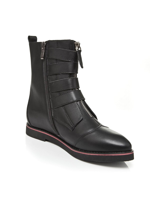 Women's Flat Heel Closed Toe Cattlehide Leather With Zipper Mid-Calf Black Boots