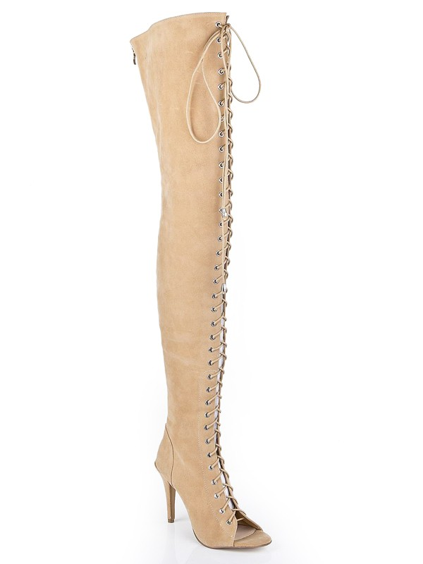 Women's Suede Stiletto Heel Peep Toe With Lace-up Over The Knee Champagne Boots