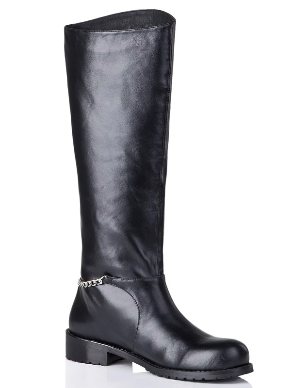 Women's Cattlehide Leather Closed Toe Kitten Heel With Chain Mid-Calf Black Boots