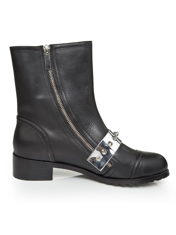 Women's Cattlehide Leather Kitten Heel With Rivet Mid-Calf Black Boots
