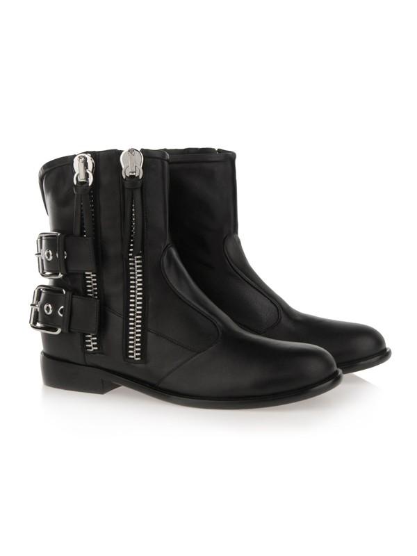 Women's Cattlehide Leather With Zipper Kitten Heel Booties/Ankle Black Boots