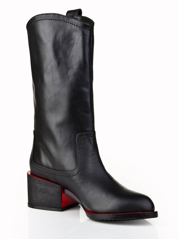 Women's Cattlehide Leather Kitten Heel Closed Toe With Rhinestone Mid-Calf Black Boots