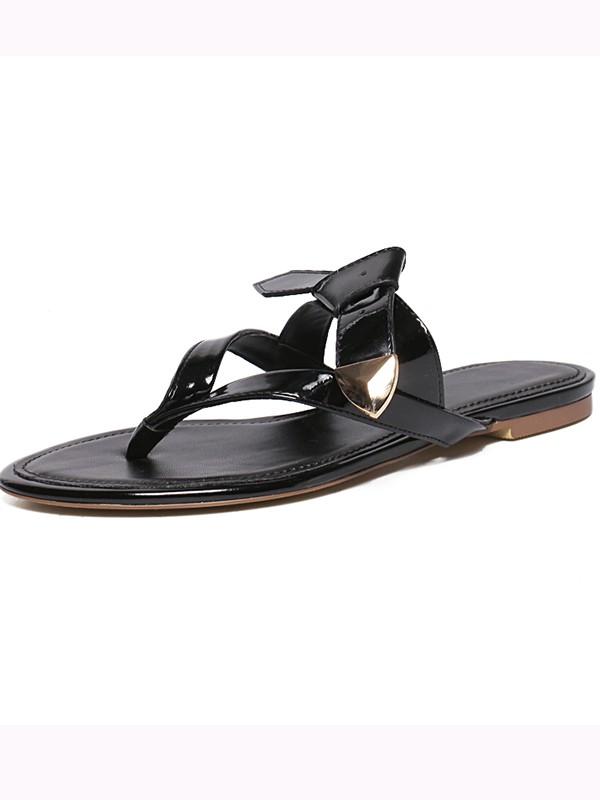 Women's Patent Leather Peep Toe Sandals Shoes