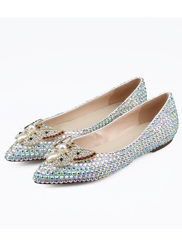 Women's Sheepskin Closed Toe Rhinestones Flat Shoes