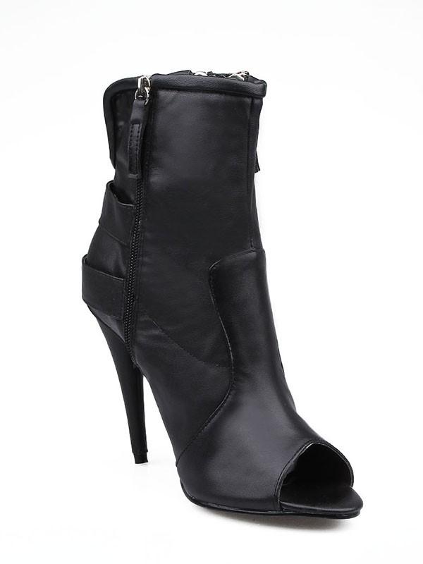 Women's Sheepskin Stiletto Heel Peep Toe Buckle Fashion Boots