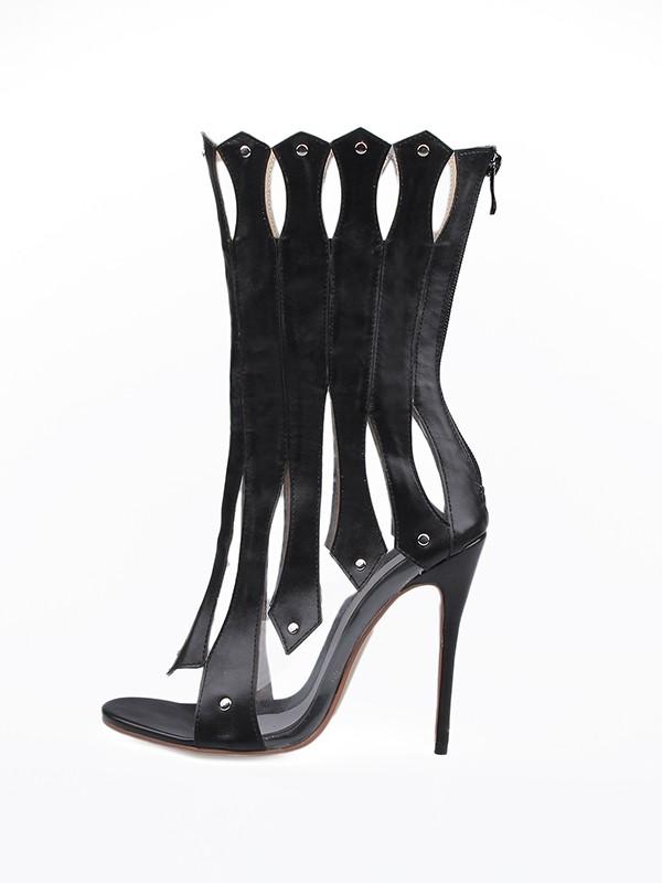 Women's Sheepskin Stiletto Heel Peep Toe Hollow-out Fashion Boots