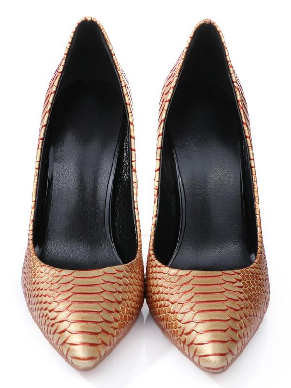 Women's PU Stiletto Heel Closed Toe With Snake Print High Heels