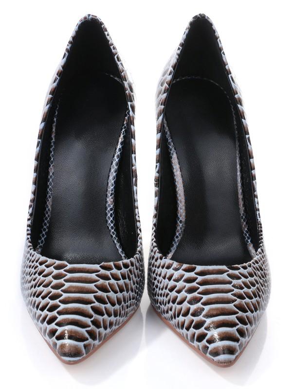 Women's PU Closed Toe With Snake Print Stiletto Heel High Heels