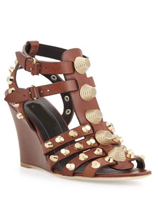 Women's Wedge Heel Peep Toe Sheepskin With Buckle Sandals Shoes