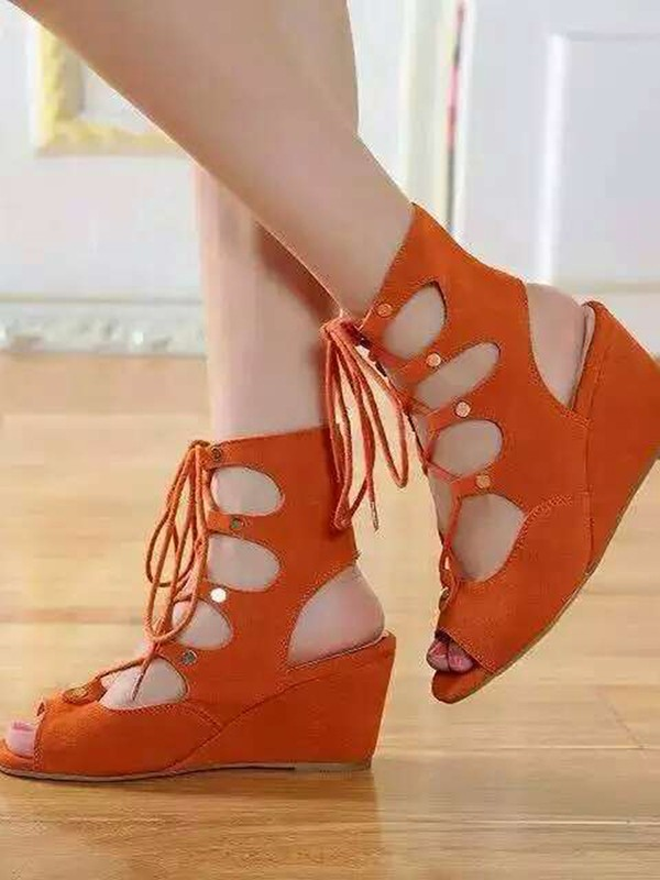 Women's Wedge Heel Suede Peep Toe With Lace-up Sandal Ankle Orange Boots