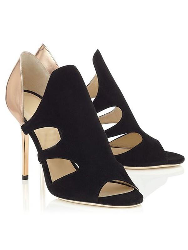 Women's Stiletto Heel Suede Peep Toe Sandals Shoes