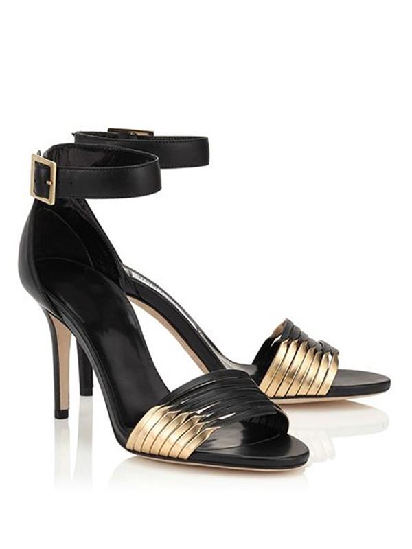 Women's Stiletto Heel Sheepskin Peep Toe With Buckle Sandals Shoes