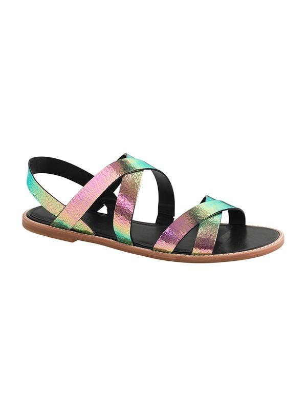 Women's Colorful Flat Heel Sheepskin Peep Toe Sandals Shoes