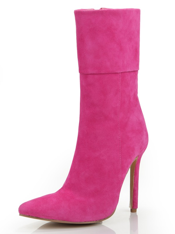 Women's Stiletto Heel Closed Toe Suede With Zipper Mid-Calf Fuchsia Boots
