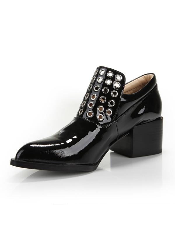 Women's Kitten Heel Closed Toe Patent Leather High Heels