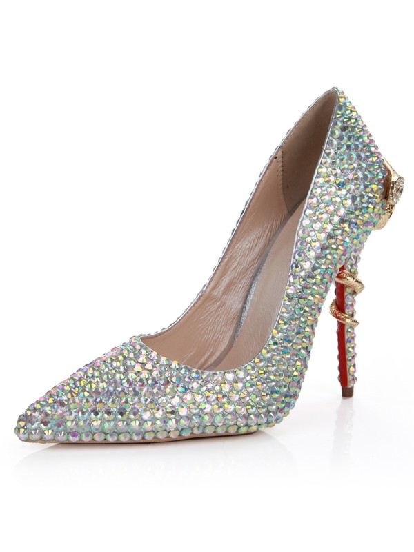 Women's Sheepskin Stiletto Heel Closed Toe With Rhinestone High Heels