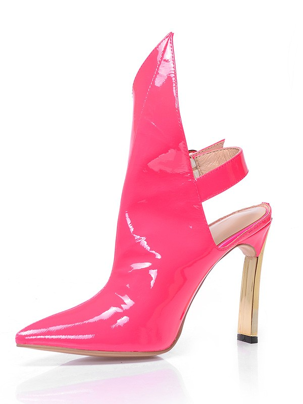 Women's Patent Leather Closed Toe Stiletto Heel With Buckle Ankle Watermelon Boots